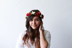 Floral Crown Flower Headband Red and White Autumn Fall on Etsy, $20.00