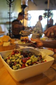 Our yummy Greek Salad was a big hit at this fun, simplistic summertime wedding reception hosted in house at To The Point.