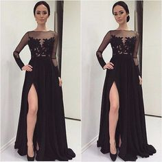 Long Sleeve Black Evening Dresses Appliques Lace High Slit Chiffon Formal Evening Gowns Dresses Prom Party Gowns Robe De Doiree