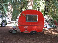 The great pumpkin!  Except it's red.  Tiny travel trailer - Vintage camper caravan <O>