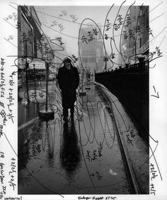 Dennis Stock s image of James Dean in Times Square, marked with Pablo Inirio s printing notations.