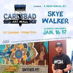 @skyewalker_art just started his mural on the #carlsbadartwall at @senorgrubbys in #Carlsbad Village. by carlsbadcrawl #carlsbadartwall