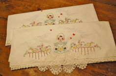 Vintage Embroidered Pillow Cases  1950s