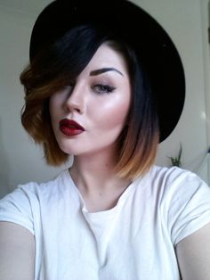 Dark ombre bob. I like the hair,  maybe too much for me...but cute. #toomuchmakeup