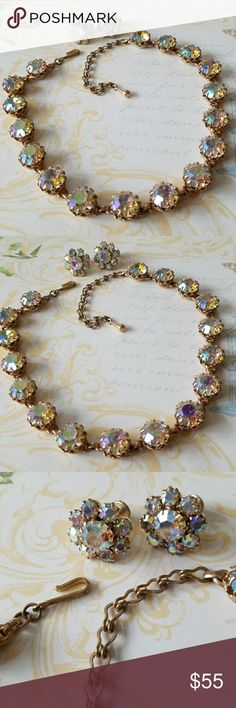 Vintage chunky AB crystal necklace/Earring set Lots of crystal on this piece! HUGE gorgeous AB crystal faceted and dazzling.  Prong set Very substantial Hook closure Matching screw back earrings Excellent condition💕 Vintage Jewelry Necklaces
