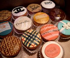 seriously love this!  great for any birthday girl who is in love with a brand but way cheaper ;) designer cupcakes. Channel, Louis Vuitton, Burberry, Victoria's secrete, Fendi, Tiffany and Co, D etc..