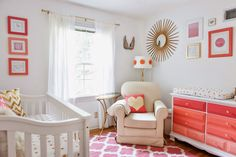 Feminine Nursery in Coral and Gold