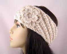 Hand Knit Ear Warmer Headband with Crochet by TravisTreasureBox