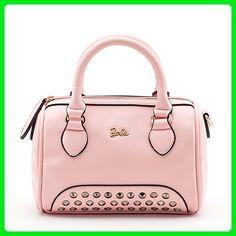 Barbie Sweetie Fashion Travel Revit Commuter PU Leather Pure Color Pattern Handbag&Cross-body Bag Shoulder Bag #BBFB132 (standard, pink) - Shoulder bags (*Amazon Partner-Link)
