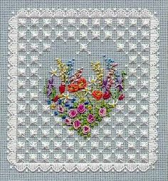 HEART OF FLOWERS / Line Drawn Kit by JoansNeedlepoint on Etsy