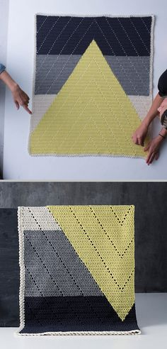 "Bjergtop babytæppet (Mountaintop baby blanket), designed by Jeanette Bøgelund Bentzen of Lutter Idyl -- pattern can be found in her book ""Lutter Loops.""  Nice example of colorwork combined with simple filet-style DC.  Picot edging is a nice finish that doesn't detract from the overall design.   . . . .   ღTrish W ~ http://www.pinterest.com/trishw/  . . . . #crochet #afghan #throw"
