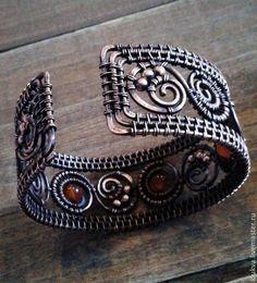 Купить Медный браслет с натуральными камнями - медь, Медь ручной работы, медь патинированная