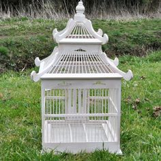 White Painted Ornamental Wooden Bird Cage