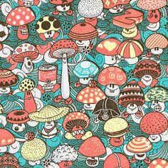 Hongos by walmazan. People Illustration, Character Illustration, Illustration Art, Cool Patterns, Textures Patterns, Mushroom Pictures, Origami, Mushroom Art, Art Courses