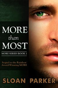 More Than Most, Sloan Parker. Contemporary Gay Romance. Menage, Mystery, Series - but can be read as a standalone. One of the best menage series you will ever read. Love me some Richard Marshall and his guys :)
