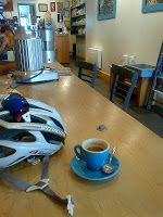 Spy sunglasses, blue coffeecup, third wave espresso, recovery ride, cycling, coffeeshop, montreal quebec
