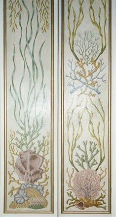 Detail of painted aquatic design pilaster panels, two of 12. Port Erin, Isle of Man by Timna Woollard Studio