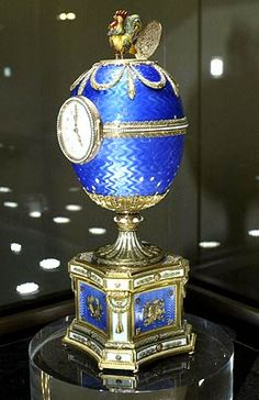 Faberge 'Kelch Chanticleer egg' on display at an exhibition in the Kremlin