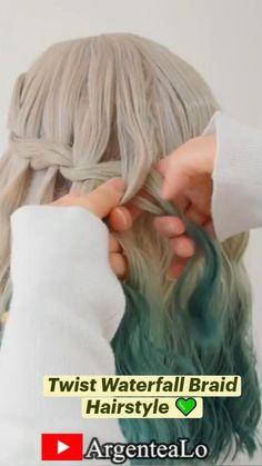 Up Hairstyles, Braided Hairstyles, Hair Cutting Videos, Hairdo For Long Hair, Hair Up Styles, Braided Updo, Updos, Waterfall, Braids