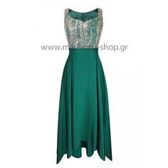 Φόρεμα σμαραγδί άνισο.