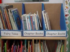 """Classroom Library Organization - Check out your local Walmart store at """"Back to School"""" time and ask for their empty notebook or folder boxes! Label them and you have a FREE organization system!"""
