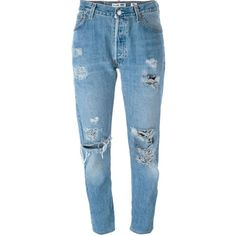Levi's Distressed Boyfriend Jeans ($390) ❤ liked on Polyvore featuring jeans, pants, trousers, bottoms, pantalones, blue, torn boyfriend jeans, blue jeans, torn jeans and destructed boyfriend jeans