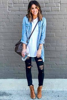 Outfits With Long Denim Shirt And Ripped Jeans How to wear skinny high waisted or ripped black jeans in different outfits for work or going out. Black Women Fashion, Look Fashion, Autumn Fashion, Woman Fashion, Fashion Outfits, Fashion Vest, Jackets Fashion, Jeans Fashion, Cheap Fashion