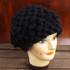 Black Crochet Hat Womens Hat Womens Crochet Hat Crochet Shell Stitch Crochet Beret Hat Black Hat LENA Womens Crochet Beret Hat by strawberrycouture by #strawberrycouture on #Etsy