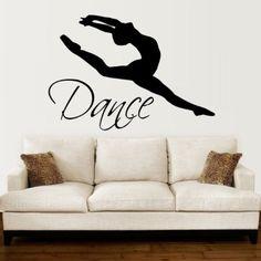 Wall Decals Quotes Dance Quote Dancer Silhouette Gymnastics Girls Kids Children Gift Nursery Dance Studio Ballerina Ballet Wall Vinyl Decal Stickers Bedroom Mural