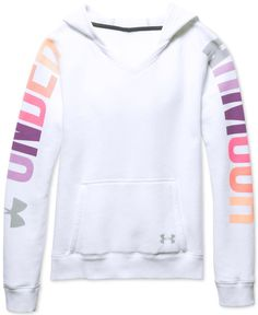 She'll love the loose fit and lightweight stretch construction of Under Armour's favorite graphic-print hoodie. | Cotton/polyester | Machine washable | Imported | V-neck | Attached hood with drawstrin