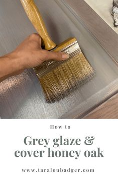Create Grey Stain look without Stripping * - - Stripping is a lot of hard, gross, goopy work and no one likes to do it. I recently created this beautiful grey stain look without stripping to raw wood. Honey Oak Cabinets, Oak Kitchen Cabinets, Painting Kitchen Cabinets, Kitchen Redo, Cupboards, Kitchen Ideas, Painted Oak Cabinets, Restaining Kitchen Cabinets, Gray Stained Cabinets
