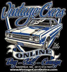 """""""Vintage Cars Online"""" Plymouth 440 GTX muscle car - logo #Plymouth #Mopar #GTX #coupe #logo #artwork"""