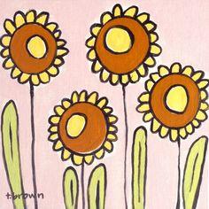 decoración para el hogar. Girasoles. pintura por alexandasher