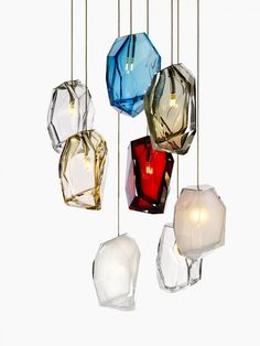 Arik Levy has created Crystal Rock, a collection of suspended lamps for manufacturer Lasvit.