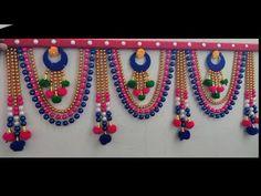 Easy make door hanging design toran Rope Crafts, Diy Crafts For Gifts, Diy Arts And Crafts, Craft Stick Crafts, Handmade Crafts, Paper Flowers Craft, Paper Crafts Origami, Flower Crafts, Door Hanging Decorations