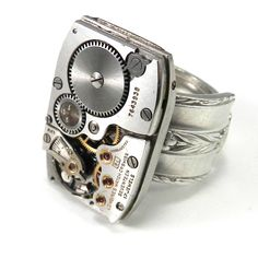 Industrial Ring - Mechanical Watch Spoon Ring - Longines from Compass Rose Design Jewelry www.compassrosedesignjewelry.com