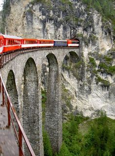 The Glacier Express is an express train connecting railway stations of the two major mountain resorts of St. Moritz and Zermatt in the Swiss Alps