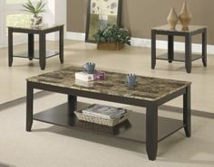 3pc Cappuccino Marble Top Table Set
