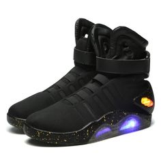 10392d410d87 Back To The Future Glowing Men Shoes Soldier Ankle Boot Limited Edition Led  Luminous Light Up