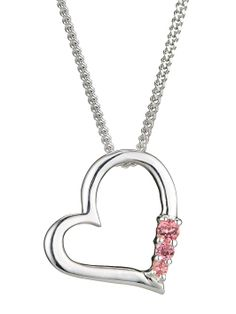 Silver with Pink Cubic Zirconia Heart Pendant   very.co.uk