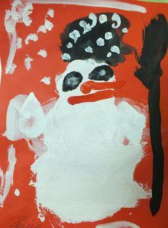 Снеговик. Рисует 3-х летний малыш.