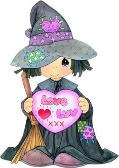 """Cute Halloween witch saying """"Love Luv"""" Precious Moments Coloring Pages, Precious Moments Quotes, Precious Moments Figurines, Printable Christmas Coloring Pages, Easter Coloring Pages, Coloring Pages For Kids, Halloween Drawings, Halloween Pictures, Halloween Clipart"""
