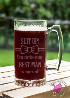 Suit Up Service as my BEST MAN Requested Silhouette 24 oz Etched Glass Stein Beer Mug with Handle and Customizable Text Ask Bridal Party Groomsman Ideas for asking