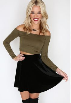 Nina Crop Top - Olive http://www.shoppriceless.com/collections/new-arrivals/products/nina-crop-top-green