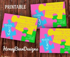 PRINTABLE Puzzle Birthday Party Invitation by HoneyBeanDesigns, $10.00