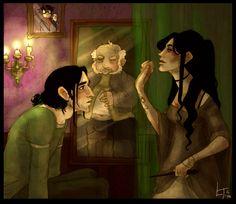 """Ha ha look wot I got"" by ~comfortablylaura :: Snape & Bellatrix, Slytherin Common Room"