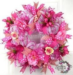 Deco Mesh Ribbon Wreaths | Deco Mesh Summer Wreath Pink Peony Tulip Burlap Chevron Ribbon Door ... by sheree