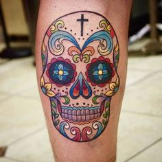 Colorful Sugar Skull Tattoo by Ge Zhang