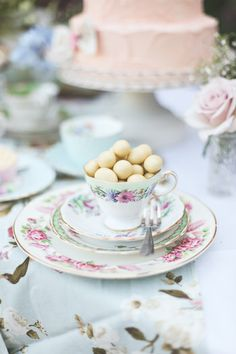 Filling teacups with treats :) xx Our great friends, The Heirloom styled this afternoon tea party!