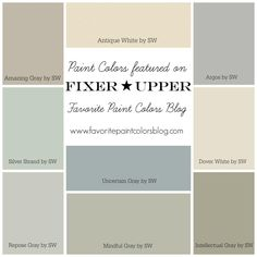 paint colors Silver Strand, Mindful gray, Oyster Pearl, Passive Gray, and Intellectual Gray Farmhouse Paint Colors, Kitchen Paint Colors, Paint Colors For Home, Paint Colours, Bathroom Colors, Fixer Upper Paint Colors, Bathroom Grey, Neutral Colors, Hgtv Paint Colors